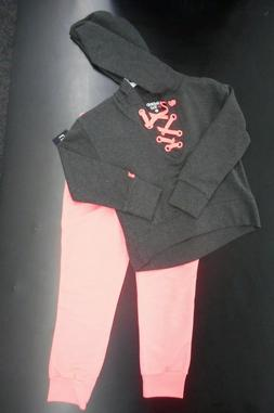 Limited Too Girls Neon Corral And Grey Sweat Suit With Hoodi