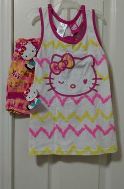 Hello Kitty girls outfit top and short pink and yellow size