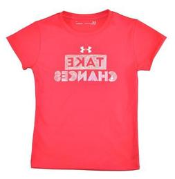 Under Armour Girls Pink & White Take Chances Dry Fit Top Siz