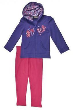 Kids Headquarters Girls Purple Hoodie 2pc Legging Set Size 4