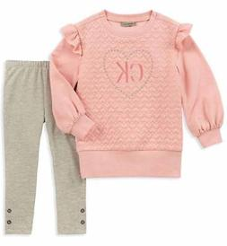 Calvin Klein Girls Quilted Sweatshirt & Legging Set Size 2T