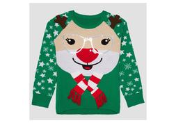 Hybrid Apparel Girls Reindeer Ugly Christmas/Holiday Knit Sw