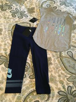 Nike Girls Size 4T 4-5 Small Tee Shirt Top Leggings Set Outf