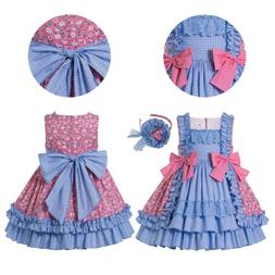 Girls Spanish Style Princess Dresses Check Formal Party Clot