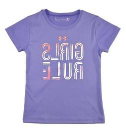 Under Armour Girls Violet & Coral Girls Rule Dry Fit Top Siz