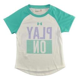 Under Armour Girls White & Teal Play On Dry Fit Top Size 2T