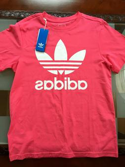 Girls Adidas Youth Juniors Trefoil Tee Size L - Pink White