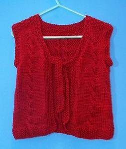 Hand Knitted Girls Clothes Sweater Vest / Jacket  Size 6  Da