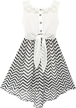 Sunny Fashion HD31 Girls Dress Lace to Chiffon Striped Black