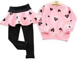 Heart Apparel Girls Clothes Cotton Long Sleeves Pants Sets A