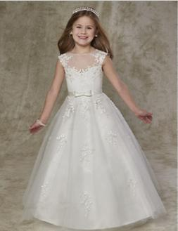 Holy Flower Girl Dresses Cap Sleeves A Line V First Communio