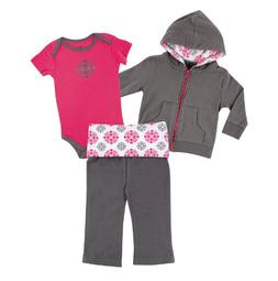 Yoga Sprout Baby Girls' Hoodie, Bodysuit & Yoga Pants Set -