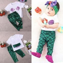 Newborn Baby Girls Mermaid Clothes T Shirt+Pants+Headband Ou