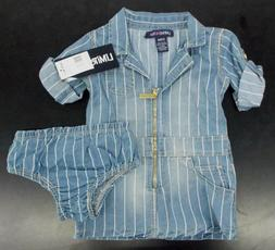Infant Girls Limited Too $28 Blue Denim w/ White Pin Striped