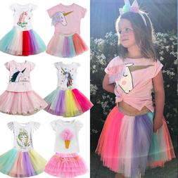 Kid Toddler Girl Unicorn Dress Outfit T-shirt Top Tulle Tutu
