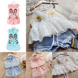 Kids Baby Girls Casual Clothes Sleeveless Vest Tank Top Shor