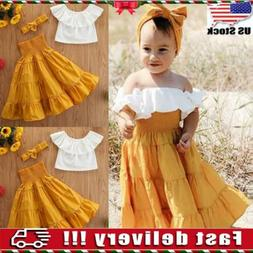 Kids Baby Girls Clothes Off-shoulder Top Princess Dress Head