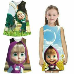Kids Baby Girls Masha And The Bear Party Dress Summer Vest S