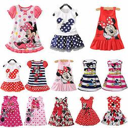 Kids Girl Cartoon Minnie Mouse Party Dress Sleeveless Skirt