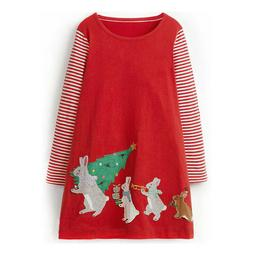 Kids Girls Christmas Clothes Long Sleeve Tops Striped Party