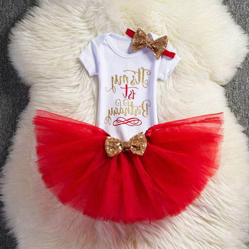 1st Birthday Outfits Tutu Baby Gold Bow Clothes
