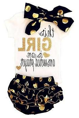 2Bunnies Baby Girl Answered Prayer Gold Sparkle Romper Bodys