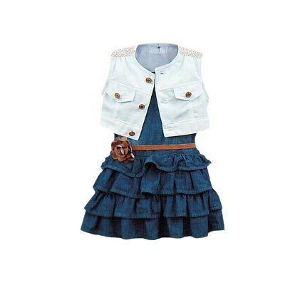 Sleeveless Vest Skirt Dress Clothes Set
