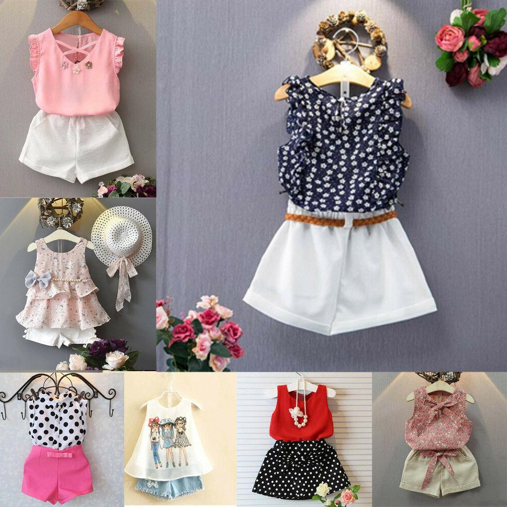 2pcs kids baby girls toddler outfit clothes