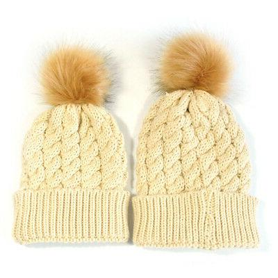 2PCS Mother Knit Kids Girls Warm Beanie