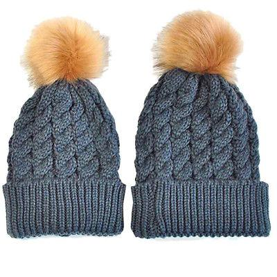 2PCS Knit Pom Bobble Kids Girls Boys Warm Cap