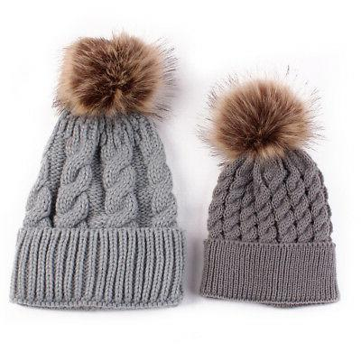 2PCS Mom Knit Pom Bobble Kids Warm