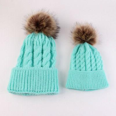 2PCS Mom Mother Knit Pom Kids Boys Winter Warm Beanie Cap