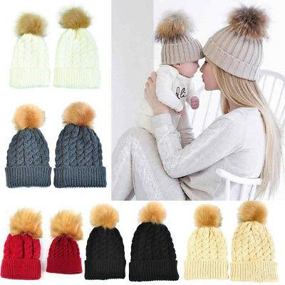 2pcs mom mother baby knit pom bobble