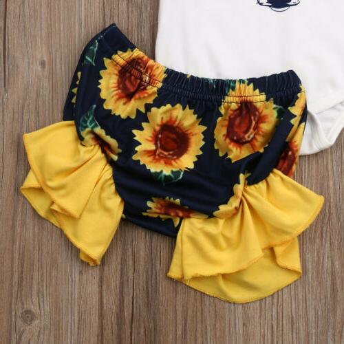 2PCS Newborn Girls Tops Floral Pants Outfits Clothes USA