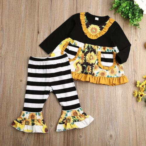 2PCS Toddler Winter Dress Striped Outfits