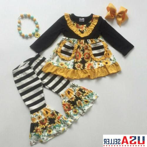 2pcs toddler baby girl winter clothes sunflower