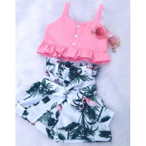 2pcs toddler baby girls outfit clothes vest