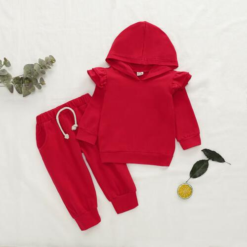 2PCS Toddler Girl Long Sleeve Hooded Tops+Pants Outfits US