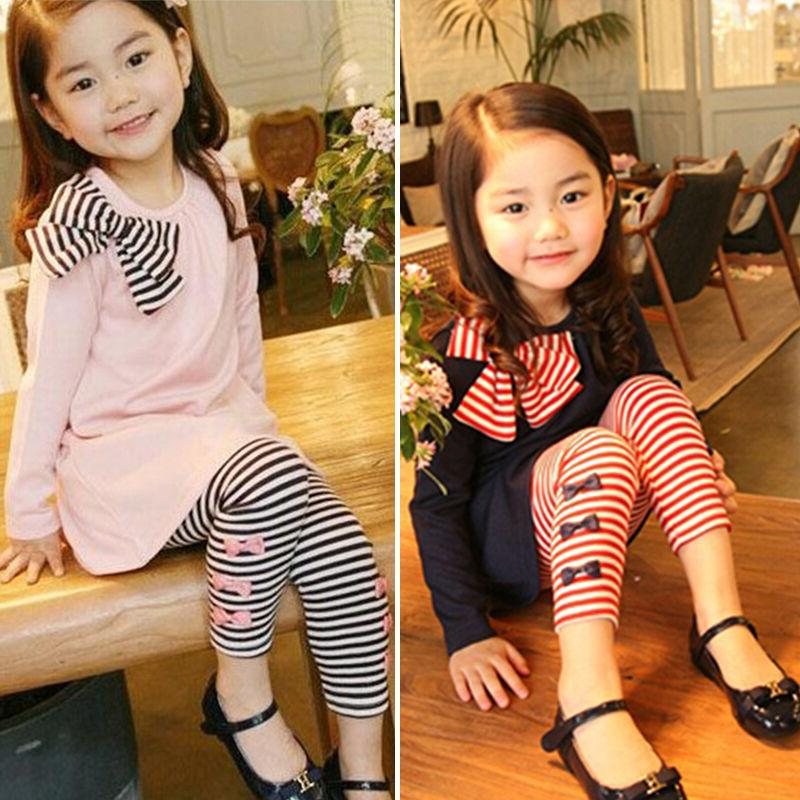 Toddler Baby Girls Clothes Long Sleeve Tops Stripe Long Pant