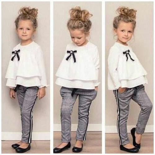 2Pcs Girls Tops Long Plaid Outfits US Stock