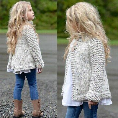 2T-9T Kids Baby Girls Outfit Clothes Button Knitted Sweater