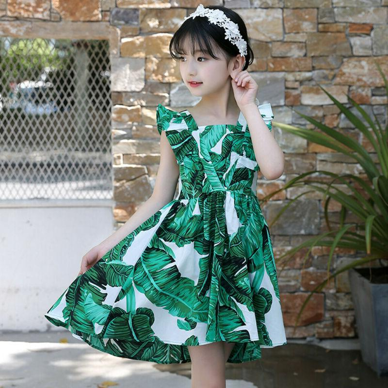 3-12Y Sleeveless Print Ruched Dress Summer