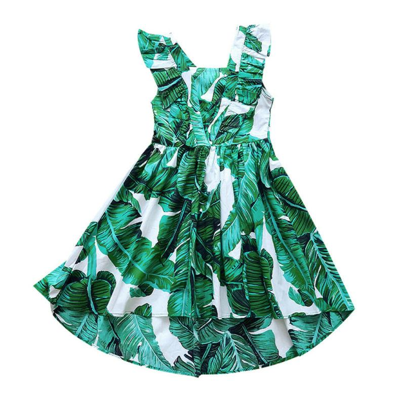 3-12Y Kids Teen Sleeveless Leaf Print Dress Summer Clothes