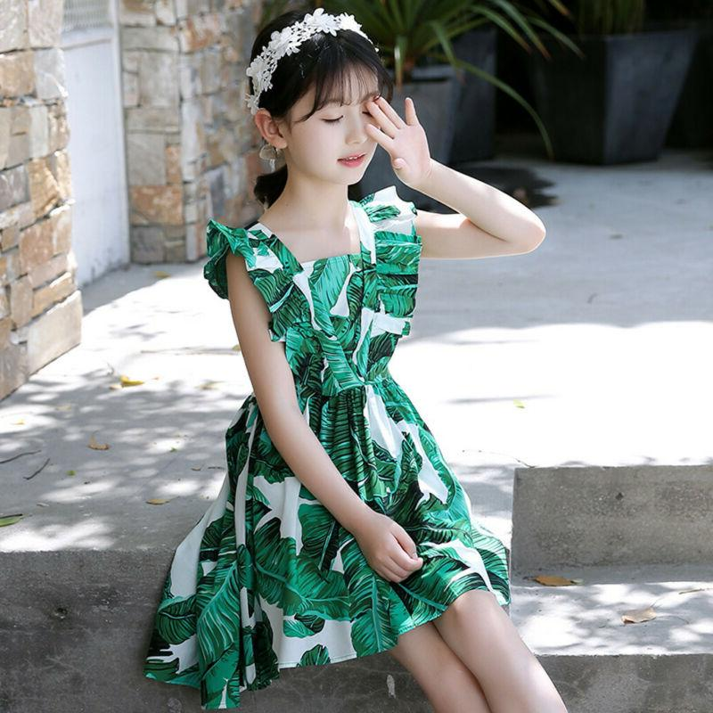 3-12Y Kids Teen Sleeveless Leaf Print Dress Casual Summer