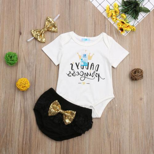 3PCS Newborn Girl Outfit Clothes Shorts Stock