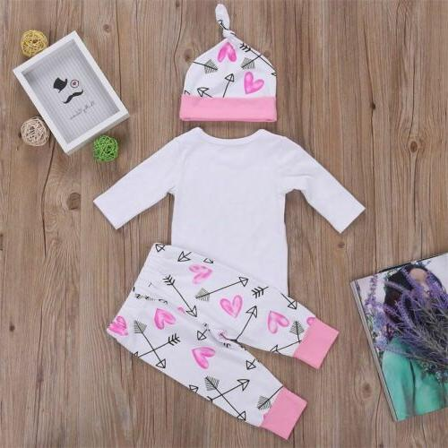 4PCS Newborn Girl Outfits Romper Bodysuit+Pants