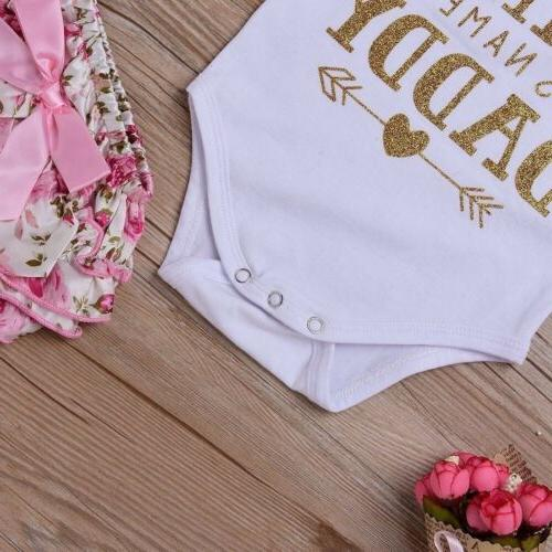 4PCS Newborn Baby Girl Bodysuit+Tutu Pants Dress Set