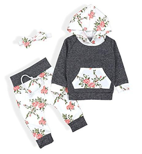 Baby Girls Long Sleeve Flowers Hoodie Tops and Pants Outfit