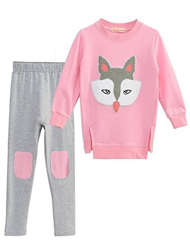M RACLE Cute Girls' Sleeve Pants Leggings Pink
