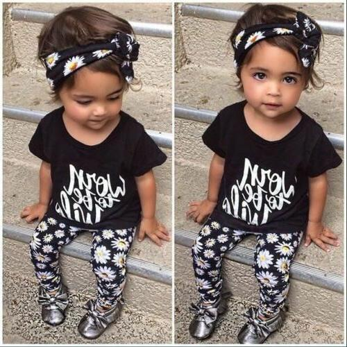 baby girl flower band t shirt pants